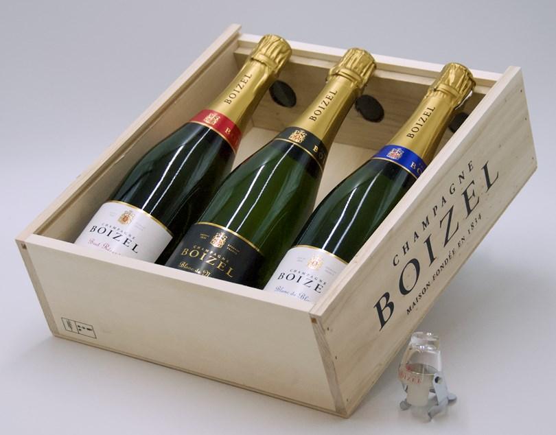 Champagne Boizel Brut Reserve, Blanc de Blancs & Blanc de Noirs + Champagne Stopper + Trälåda